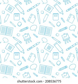 Seamless pattern with school elements.  Background to school doodles.