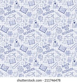 Seamless pattern with school elements on the notebook sheet