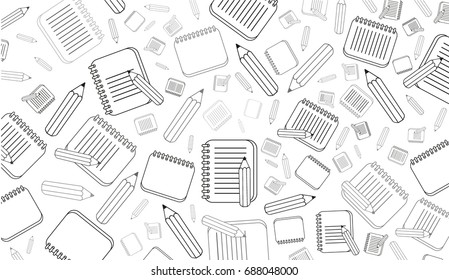 Seamless pattern with school elements. Vector background.