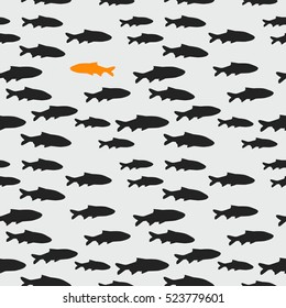 Seamless pattern with school of gray fish and one orange fish swimming in the opposite direction, vector illustration