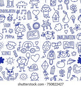 Seamless pattern School, kindergarten. Happy children. Creativity, imagination doodle icons with kids. Play, study, grow Happy students Science and research Adventure Explore