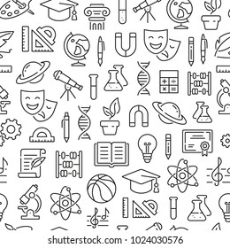 Seamless pattern with school subjects, education, science. Black and white thin line icons