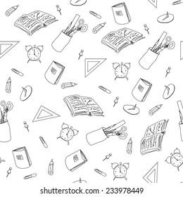 Seamless pattern of school subjects. Vector illustration