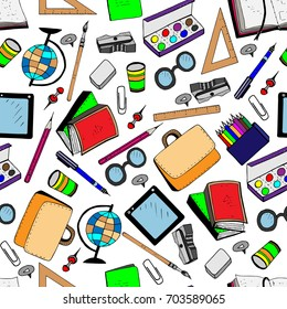 Seamless pattern of school supplies. Colored vector illustration in cartoon style. White background.