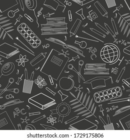 Seamless pattern with school supplies. Icons of stationery for study on a black background. Back to school concept. Linear vector drawing. Outline symbols. Design of paper, wallpaper, website. Vector