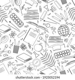 Seamless pattern with school supplies. Icons of stationery for study on white background. Back to school concept. Linear vector drawing. Outline symbols. Design of paper, coloring book, sale, store