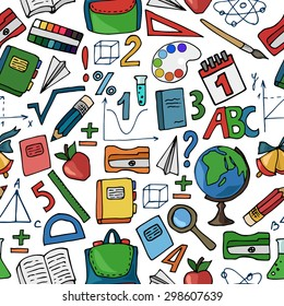 Seamless pattern with school supplies on a white background. Vector illustration