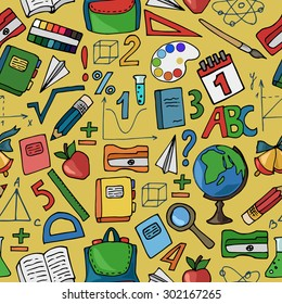 Seamless pattern with school supplies on a yellow background. Vector illustration