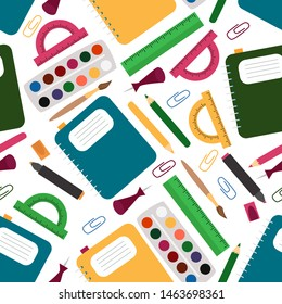 seamless pattern with school supplies - vector illustration, eps