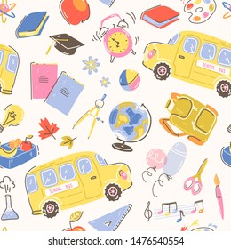Seamless pattern with school symbols. School bus, alarm clock, backpack, stationery and books. Bright colors