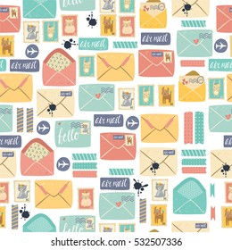 seamless pattern. scrapbook and postal items. cute set of pastel colors, envelopes and letters