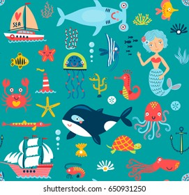 Seamless pattern with the sea.