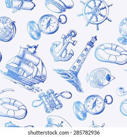Seamless pattern with Sea Adventure elements in sketch style. Vector illustration for your design
