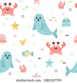 Seamless pattern with sea animals. Fish, starfish, jellyfish, seaweeds and seal. Childish texture for fabric or textile. Kids background. Vector illustration