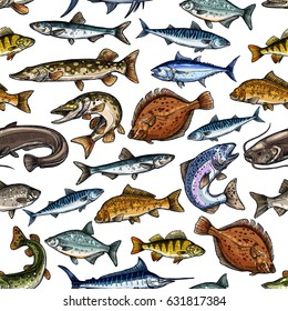 Seamless pattern of sea and freshwater fish. Blue marlin, tuna, salmon and trout, mackerel and pike, perch and bass, flounder, carp and herring, sheatfish. Fishing sport, seafood design