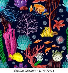 Seamless pattern with sea inhabitans and herb