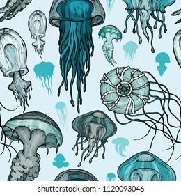 Seamless pattern with sea jellyfish.