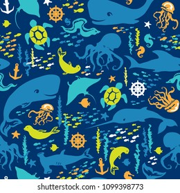 Seamless pattern of sea life. Funny sea animals in cartoon style. Vector collection