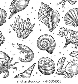 Seamless pattern sea shell, coral, crab and shrimp. Vector engraving vintage illustrations. Isolated on white background.
