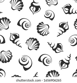 Seamless pattern with sea shells. Vector black and white background.
