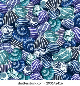 Seamless pattern with sea shells. Vector background.