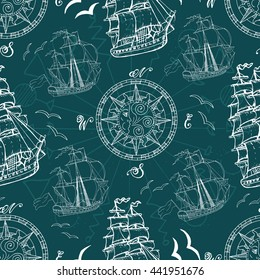 Seamless pattern with sea symbols, compass, gulls and ships. Doodle illustration with vintage transportation emblems, hand drawn repeated drawing with marine elements, nautical background