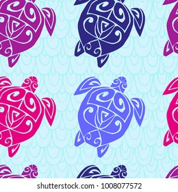 Seamless pattern with sea turtle in the Maori style