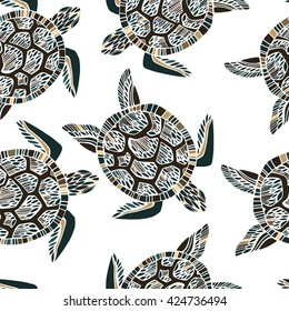 Seamless pattern with sea turtles.