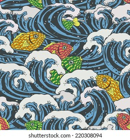 Seamless pattern with sea waves and colorful fishes