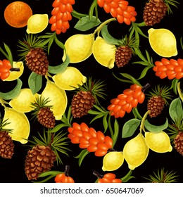 Seamless pattern with sea-buck thorn, cedar cones and lemon tree