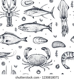 Seamless pattern with seafood isolated on white background. Realistic hand-drawn tuna, crab, lobster, salmon, oyster, mussel, dorado, shrimp, squid. Vector. Idea of wrapping paper or wallpaper.