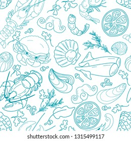 Seamless pattern with seafood on a white background: lobster, shrimp, fish, oyster, mussel, shell, lemon, clove, tarragon, parsley, Bay leaf. Vector