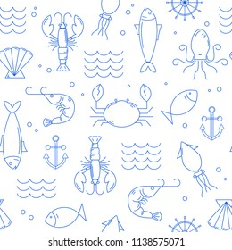 Seamless pattern with seafood in thin line