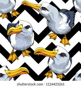 Seamless pattern. Seagull (Albatross) on a geometric sea background. Vector illustration.