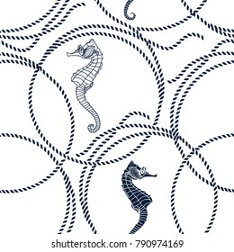 Seamless pattern with seahorses and  marine ropes. Vector illustration on a white background.
