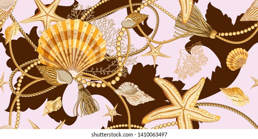 Seamless pattern with seashells in Baroque style . Golden shells, starfishes, ropes and pearls on a pink background. Ornament with sea elements