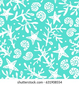 Seamless pattern with seashells, corals and starfishes. Marine background. Perfect for greetings, invitations, wrapping paper, textile, wedding and web design.