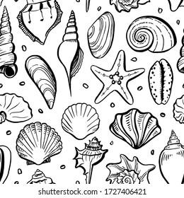 Seamless pattern of seashells. Hand drawn vector illustrations. Monochrome background.