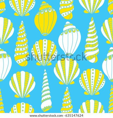 e9a70973541bf0 Seamless Pattern Seashells Hand Drawn Icons Stock Vector (Royalty ...