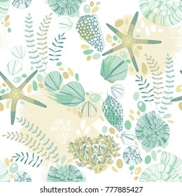 Seamless pattern with seashells, starfishes and twigs