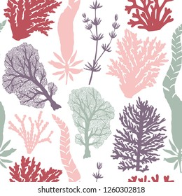Seamless pattern with seaweeds and corals silhouettes. Vector background with underwater natural elements. Vintage sealife illustration.