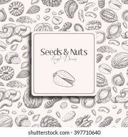 Seamless pattern with seeds and nuts on a white background. Vector  illustration for your design