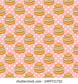 Seamless pattern with Semla (Samlor) is a traditional sweet bun from Scandinavia, on a pink background. Excellent design for menu, brochures, poster, packaging, wrapping paper etc.
