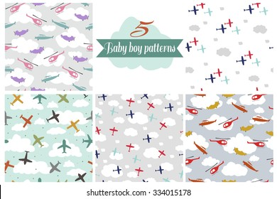 Seamless pattern set for baby boy room and other design