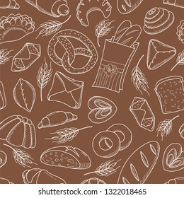 Seamless pattern set of bread products: bread, pie, bread, cheesecake, envelope, pretzel, pudding, a roll, an envelope, a piece of bread, cheesecake, sausage roll. Vector