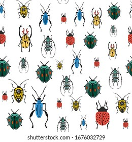 Seamless pattern with a set of bugs. Bright illustration of small beetles on a white background. flat design drawn by hand.For fabrics, packaging paper, website banners, and Wallpaper. vector