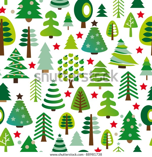 Christmas Trees Background Clipart.Seamless Pattern Set Christmas Trees Background Stock Vector