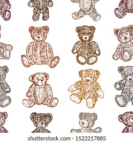 Seamless pattern of set of drawn teddy bears