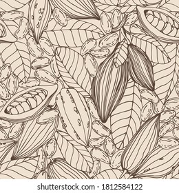 seamless pattern of a set of elements of cocoa tree, seeds, leaves, fruit, for ornament, menu decoration, color vector illustration with Sepia contour lines on a milky background in a hand drawn style