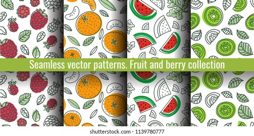 Seamless pattern set. Fruit and berry collection. Kiwi, raspberry, mandarin, tangerine, watermelon. Hand drawn color vector sketch background. Colorful doodle wallpaper. Summer print
